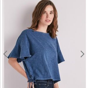 Stripe Lace Up Lucky Brand tee